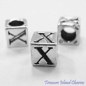 Letter X 925 Solid Sterling Silver Alphabet 7mm Block Bead 5mm Hole Diameter
