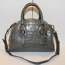 PRADA Gray Crocodile Leather Dome Bowler Bag Grigio Coccodrillo Bauletto