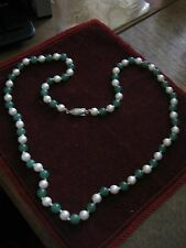 """24"""" PEARL & JADE Silk Knotted 7mm Bead Necklace, VINTAGE SILVER """"ROCKET"""" CLASP!"""