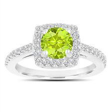 1.43 Carat Peridot Engagement Ring, Wedding Ring Halo 14K White Gold Certified