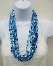 Magnetic Scarf Necklace Confetti Popcorn Scarf  #1132 Blue And White Multicolor