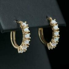 14k Yellow Gold Over 1 Ct Round Cut Fire Opal Huggie Hoop Earrings Women's