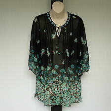 'FELLA HAMILTON' BNWT SIZE '8/10' BLACK FLORAL PRINT 3/4 SLEEVE TOP WITH BEADING