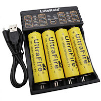 4X 18650 3.7V 9800mAh Li-ion Battery Rechargeable+USB Charger For LED Flashlight