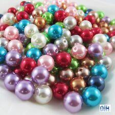 50g 100+pcs Acrylic Pearl Round Craft Beads 10mm Hole 2mm