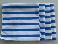 Marimekko Napkins Blue White Striped Cloth Linens Set 4 Fallani & Cohn