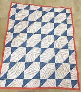 USA Handmade Crib Size Quilt- Elongated Star Design Made From Antique Quilt Top