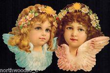ANGEL CHERUB GIRLS FLORAL PINK BLUE DAISY ORNAMENT CARD GERMANY SCRAP LARGE CARD