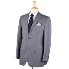 NWT $8495 KITON NAPOLI Gray Striped Cashmere-Cotton-Silk Suit 38 R (Eu 48)