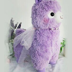 "Japan Dreamy Alpacasso Alpaca Purple With Ribbon Sheep Plush Toy 18"""