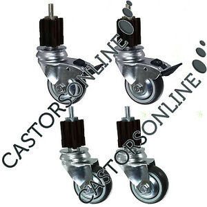 """Heavy Duty Catering Castors w/ Square Expander Fittings, 4-Pack (75-125MM/3-5"""")"""