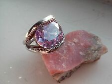 Lavender & Clear CZ In a Shark Bite Setting REAL 925 Sterling Silver Ring -8.4g