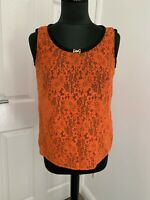 Dolce and Gabbana D&G see through coral orange lace blouse top IT40UK8-10EU34US6