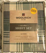 NEW Woolrich Green Plaid QUEEN 4 Pc Sheet Set Bedding Microfiber