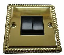 GEORGIAN DOUBLE SWITCH 2 GANG 2 WAY POLISHED BRASS [ GOLD ] BLACK INSERTS