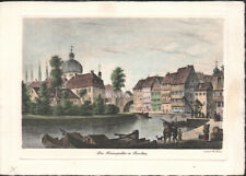 OLD BAMBERG NONNENGRABEN * ORIGINAL COLOURED  ETCHING 1960