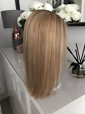 "Glueless Highlights Ombre Blonde Brown Lace Wig 14"" Soft Virgin Human Real Hair"