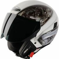 New Nitro NGJP Mechanika Large Open Face Cheap Motorcycle Helmet White/Silver