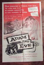 1956 Adam and Eve 1-Sh Mexican Movie Poster 27x41 VG/FN Christiane Martel