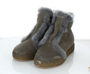 20-26 NEW Women Sz 37 M Antelope Fur Trimmed Leather Bootie In Gray