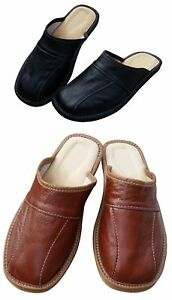 Men's Leather Slippers Shoe Sandals Slip On Mules Black Brown Size 6-11 UK Beach