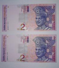 1996 -1999 MALAYSIA RM2 ALI SIDE CONSECUTIVE 2 NOTES PREFIX DG @ UNC [P-40b]