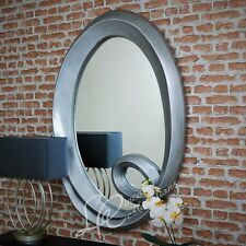 Large Antiqued Metallic Silver Oval Mirror Portrait Wall Hanging Distressed