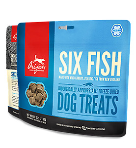 Orijen Six Fish Dog Treats 3.25oz 6pack Plus Free 1.5oz Six Fish Treat