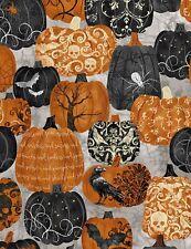 Halloween Pumpkins Tossed-Gray B/G-Fat 1/4-Timeless Treasures-Spider-Bats-Skulls