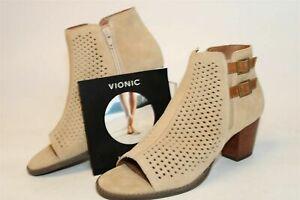 Vionic Aloft Chryssa Light Sand Suede Booties With Heels Womens NEW