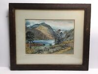 Vintage Antique Watercolour Head Of Buttermere Lake Mountain Scene Mounted Frame