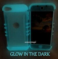 For iPod Touch 5th & 6th Gen - Clear GLOW IN THE DARK Hybrid Armor Case Cover
