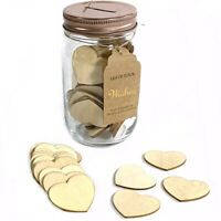 New! Guest Book Well Wishes Jar + 100 Wooden Hearts Guestbook Gift Party Wedding