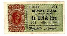 Italie ITALY ITALIA Billet 1 LIRA 1894 P34 King Umberto I RARE XF / EF