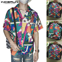 Men's Hawaiian Printed Casual Shirts Short Sleeve Beach Holiday Button Down Tops