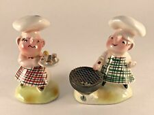 RARE Holt Howard Era Enesco BBQ Chef Salt and Pepper Shakers **AS IS**