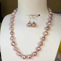 Baroque Pearl Nature Multi-purple 11-12mm elegant necklace47cm +earrings 30mm 01