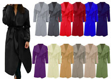 Women Long Duster Jacket Ladies French Belted Trench Waterfall Coat plus 8 - 26