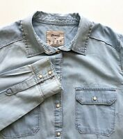 Denim & Co. Womens Shirt Chambray Light Denim Pearl Snap Sz 14 L Cotton Pockets