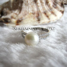 8.0-8.5mm White Freshwater Pearl Ring R9H N 1/2 Adjustable Size UE