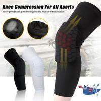 2Pcs Sport Knee Pads Leg Sleeves Protector Honeycomb Pad Crashproof Black White