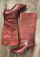 Etienne Aigner Vintage Burgundy Red Leather Heeled Boots Womens Size 7.5 M