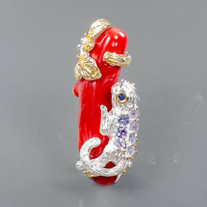 Jewelry One of a kind Coral Brooch Silver 925 Sterling  /NB10807