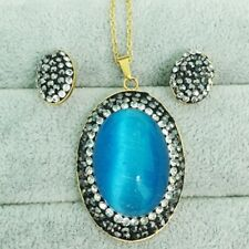 Blue Oval Jewelry Set Rhinestone Gold Plated Stud Earrings Pendant Necklace