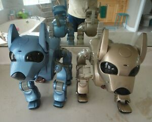 2 Original i-Cybie Interactive Robotic/Robot Dogs BLUE+GOLD by Tiger Electronics