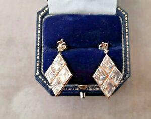 VINTAGE EARRING Pierced 1970/80s Gold Tone Diamante DIAMOND Design Dangle RETRO