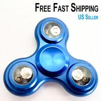 Aluminum Metal Hand Spinner Tri Fidget 3LED Light EDC Finger Gyro Desk Focus Toy