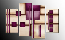 Plum Cream Brown Purple Abstract Canvas Art 4 Panel Multi Pictures Wall Art 40""