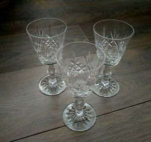 Vintage Set of 3x Edinburgh Hand-Cut Lead Crystal Red Wine Glass Embassy
