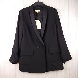 Boden Double Breasted Button Tailored Blazer Women Solid Black Career US 14